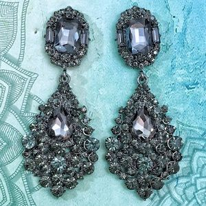 Gunmetal Crystal Chandelier Event Earrings